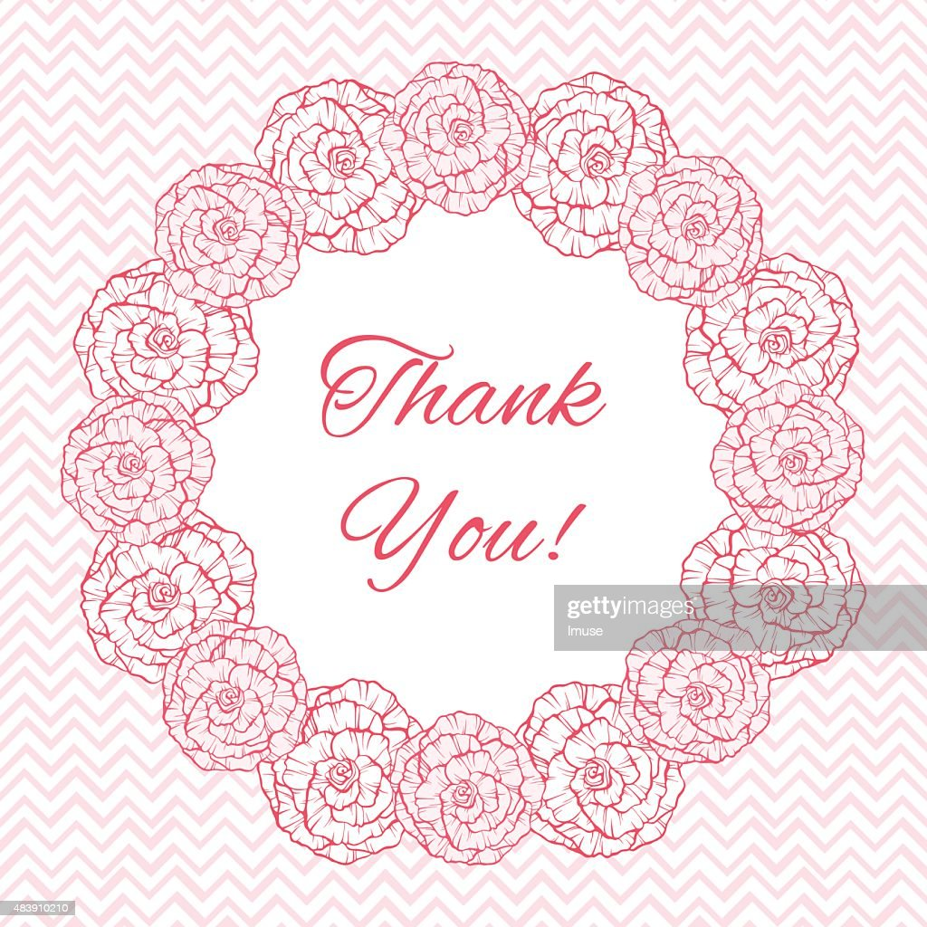 Greeting Card Template With Floral Wreath Vector Art Getty Images