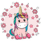 Greeting card Unicorn with flowers on a pink background