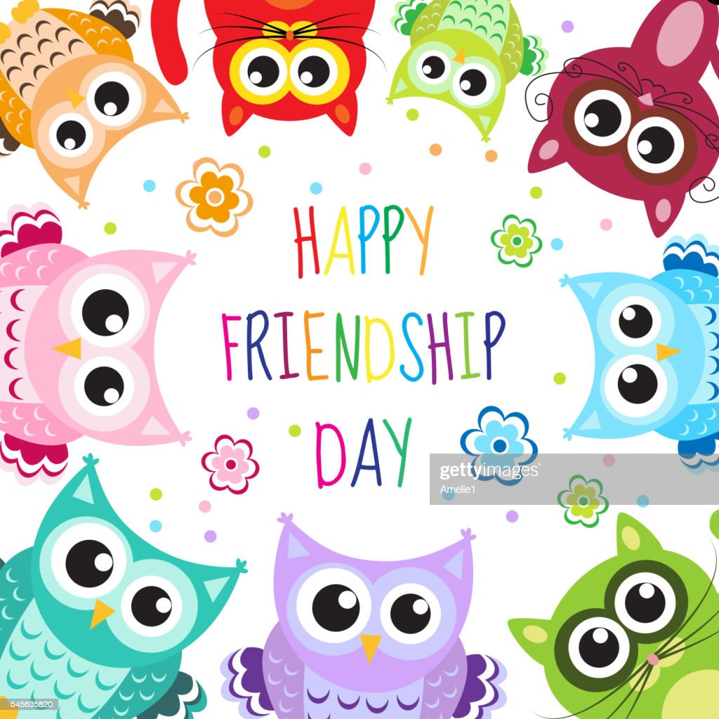 Greeting Card With A Happy Friendship Day Vector Art Getty Images