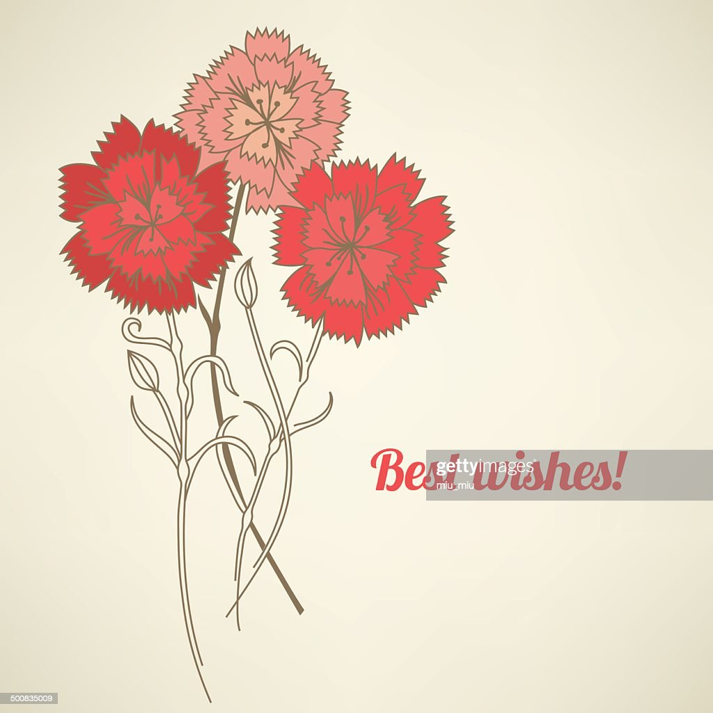 Greeting card with carnations