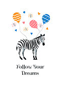 Greeting card with cartoon style icon of zebra flies on balloons. A cute character with text for different designs.