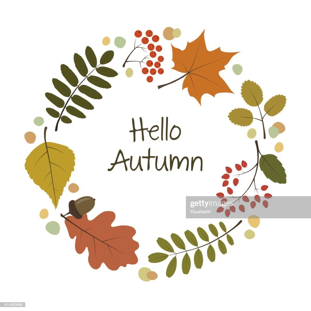Greeting card with colorful autumn leaves. Maple, oak, birch, rowan leaves.