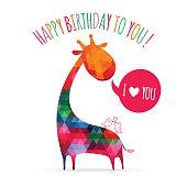 Greeting card with cute colorful giraffe. Happy birthday card. v