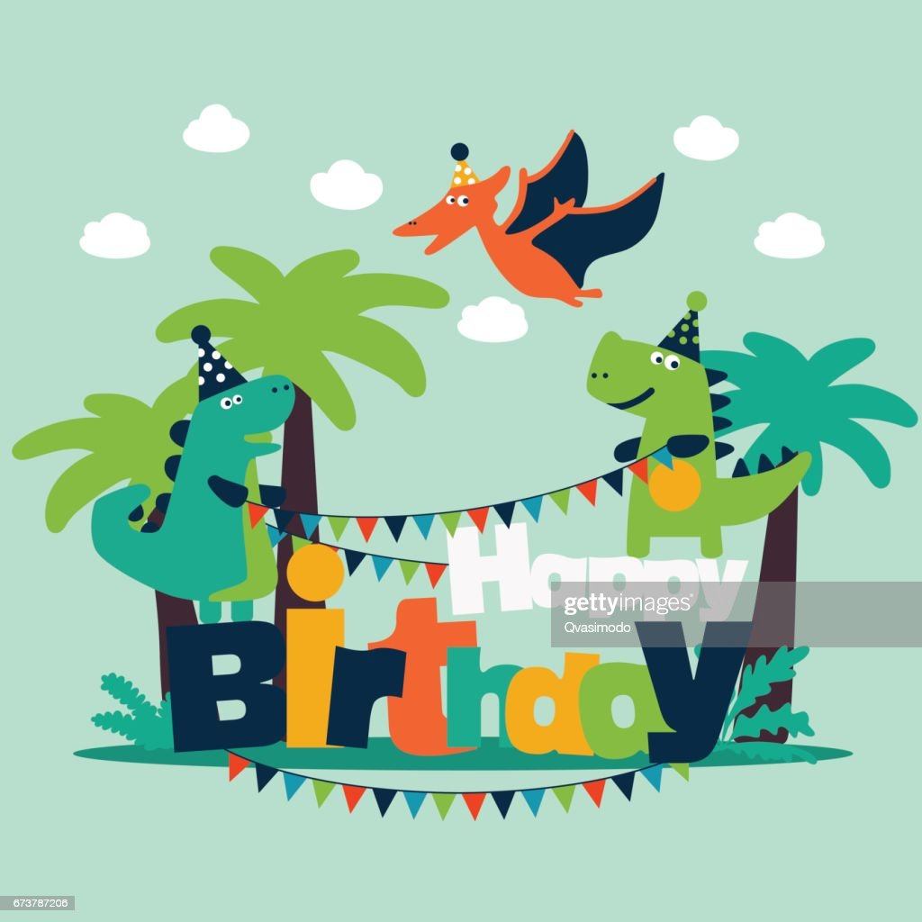 Greeting card with cute dinosaurs and palm trees
