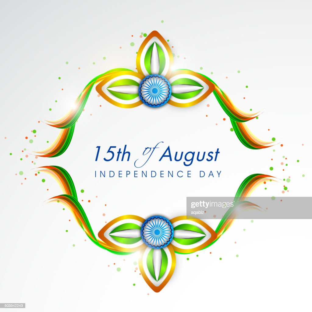 Greeting Card With Floral Design In Indian National Flag Colors