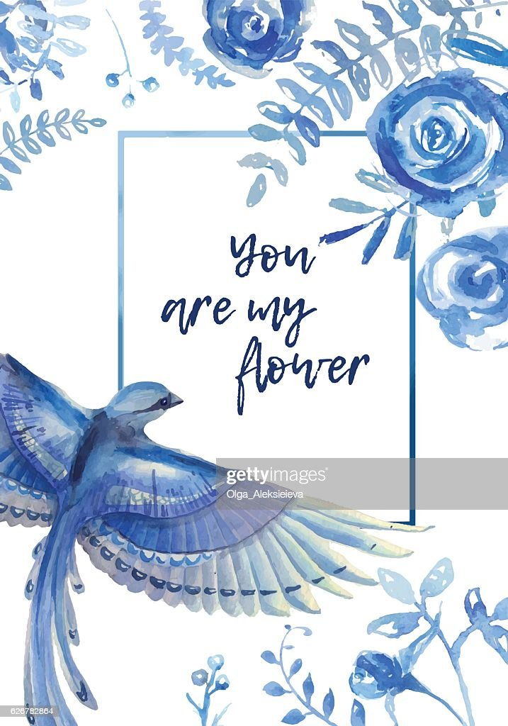 Greeting card with floral elements  and blue bird on white