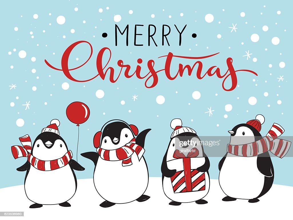 Greeting card with four cartoon penguins