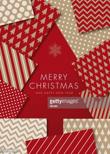greeting card with geometric christmas tree - invitation. - elegance stock illustrations