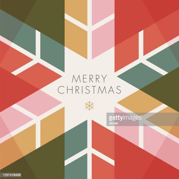 grußkarte mit geometrischen schneeflocke - einladung. - feiertag stock-grafiken, -clipart, -cartoons und -symbole