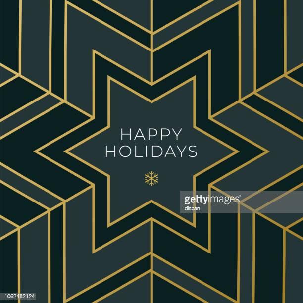 ilustrações de stock, clip art, desenhos animados e ícones de greeting card with geometric snowflake - simplicity