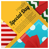 Greeting card with gift boxes background , vector , illustration