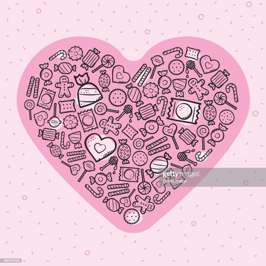 Greeting card with heart and sweets