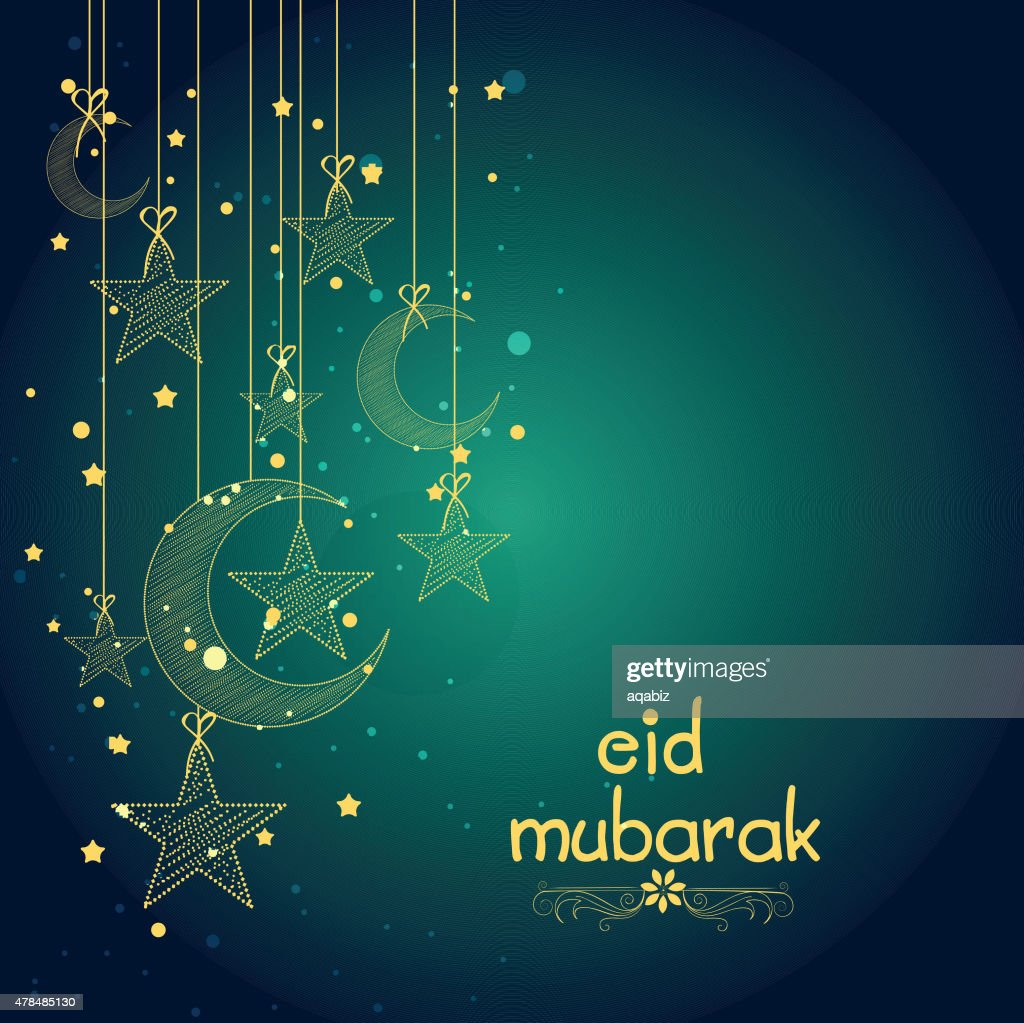 Greeting card with moon and star for Eid.