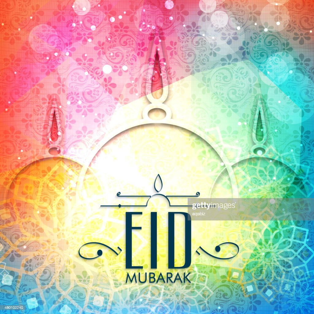 Greeting card with mosque for Eid Mubarak.