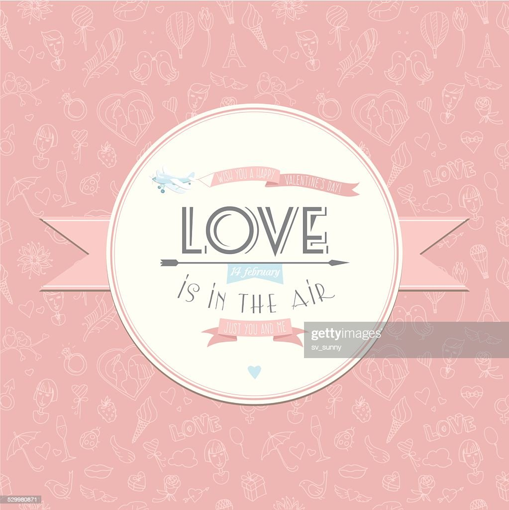 Greeting card with plane. Festive Valentine's Day seamless patte