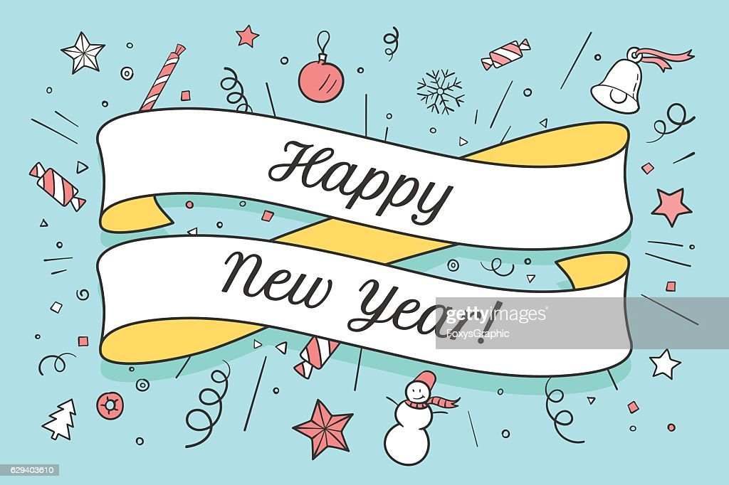 Greeting card with red ribbon and Happy New Year