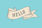 Greeting card with ribbon and word Hello