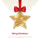 Greeting Card with Shining Gold Star Bauble and Red Ribbon.