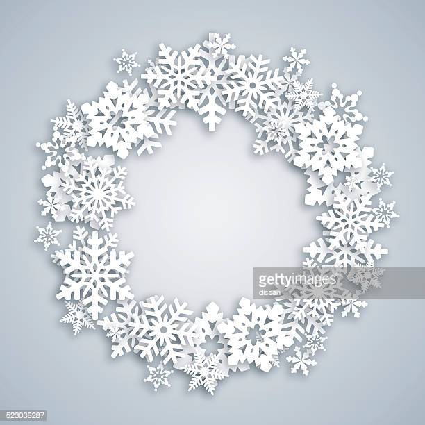 greeting card with snow wreath - christmas wreath stock illustrations
