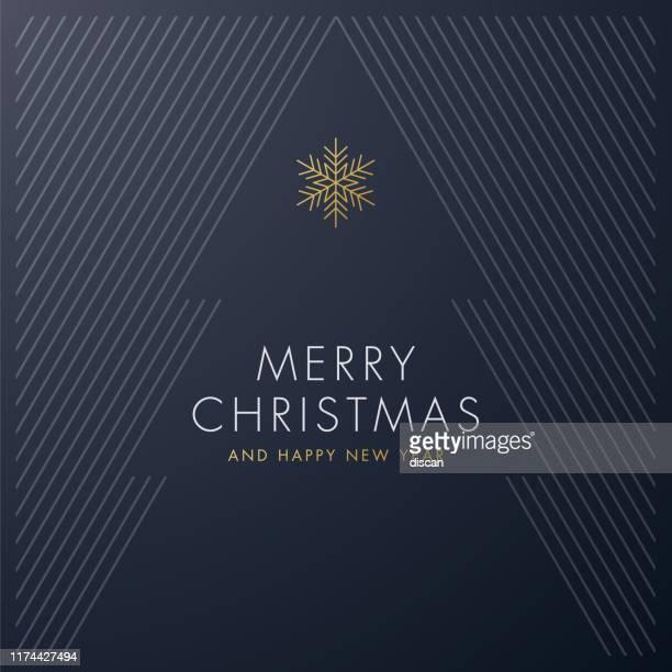 illustrazioni stock, clip art, cartoni animati e icone di tendenza di greeting card with stylized christmas tree. - stile minimalista