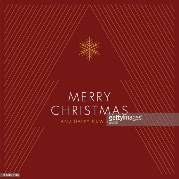 grußkarte mit stilisierten weihnachtsbaum. - roter hintergrund stock-grafiken, -clipart, -cartoons und -symbole
