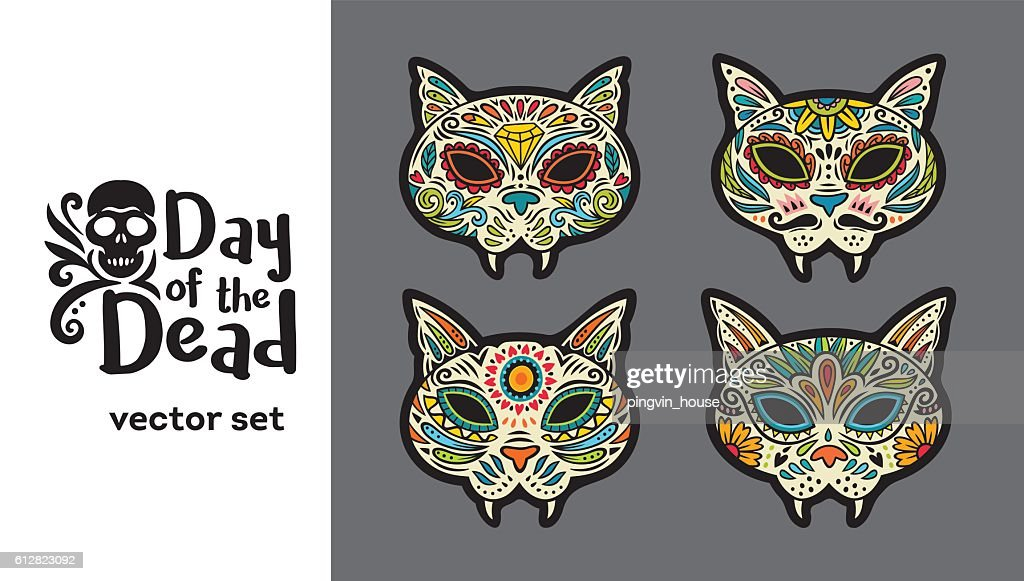 Greeting card with sugar skull cats traditional holiday in mexico greeting card with sugar skull cats traditional holiday in mexico vector art m4hsunfo