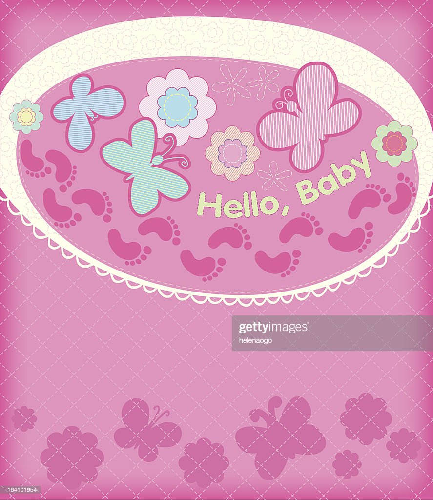 Greeting card with the birth of a girl