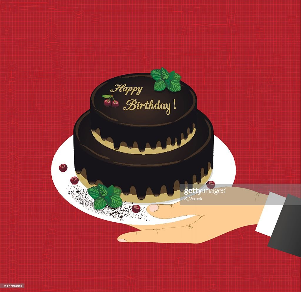 greeting card with the image of two-tiered chocolate cake