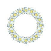 Greeting card with the wreath of daisies on white background.