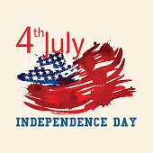 Greeting card with U.S. flag. Independence day of United