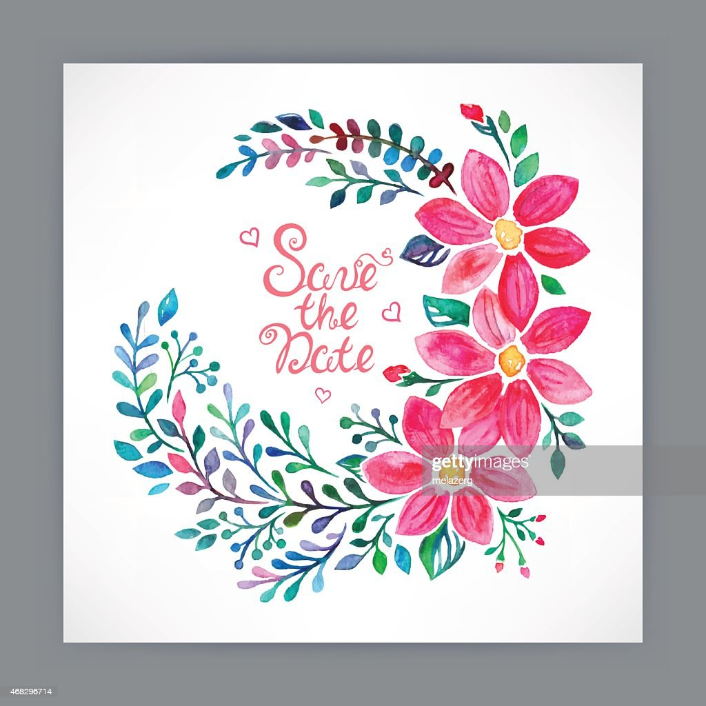 greeting card with watercolor flowers - 2