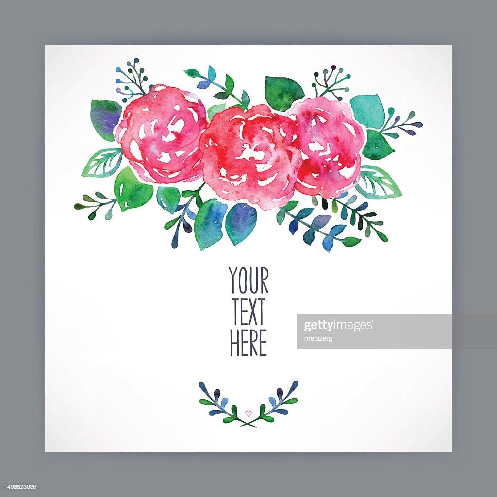 greeting card with watercolor flowers - 3