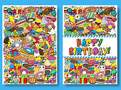 Greeting cards birthday party templates with sweets doodles background