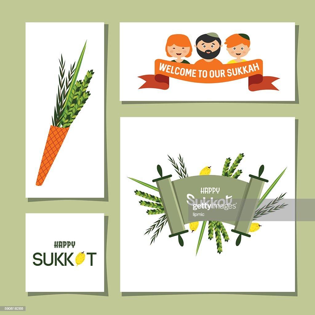 greeting cards for Jewish holiday Sukkot.