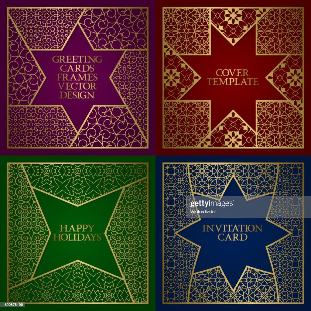 Grußkarten Goldene Rahmen Gesetzt Vintagedesignvorlage Im ...