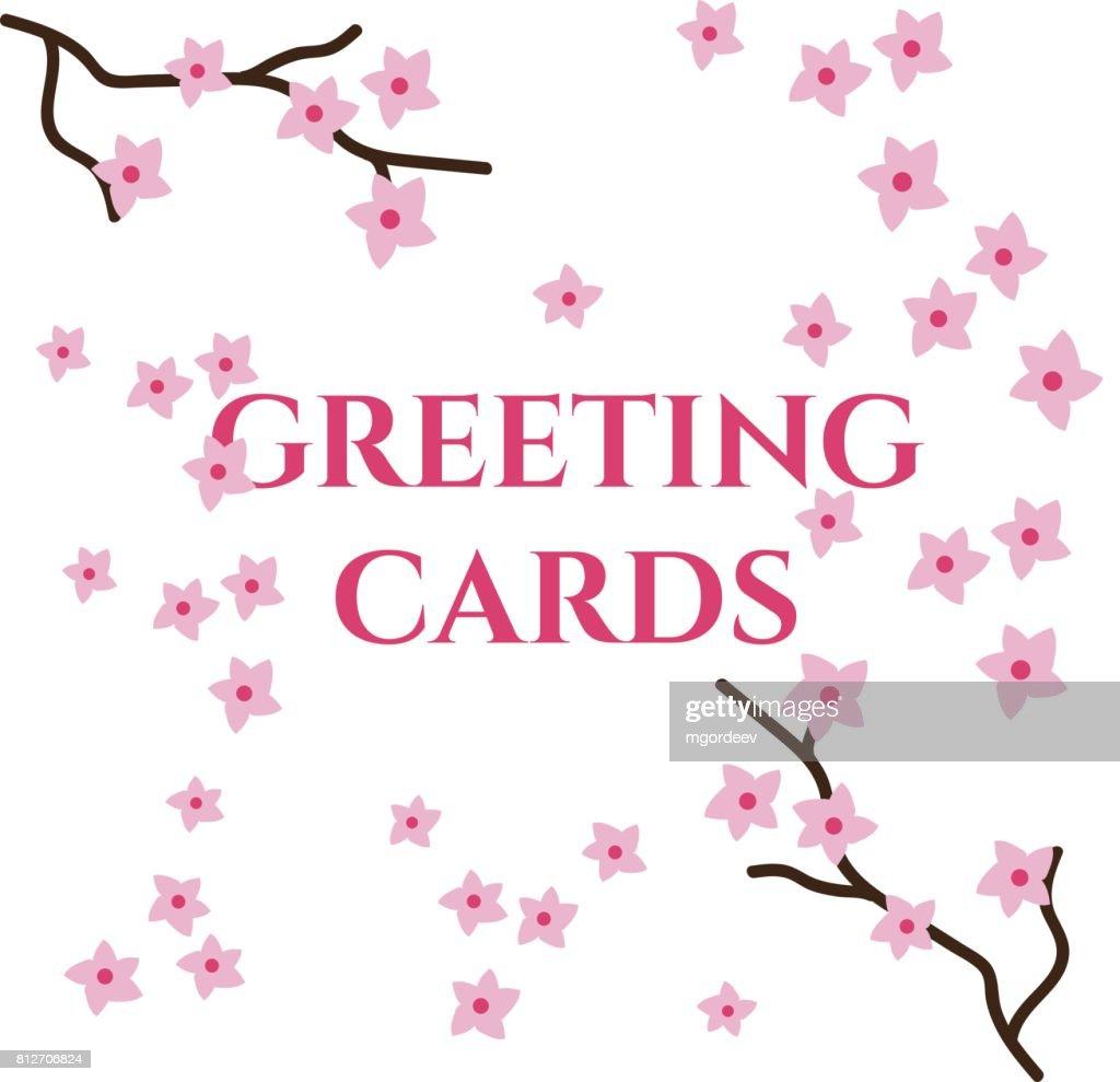 Greeting Cards Vector Template Sakura Vector Art Getty Images