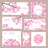 Greeting cards with blossoming sakura