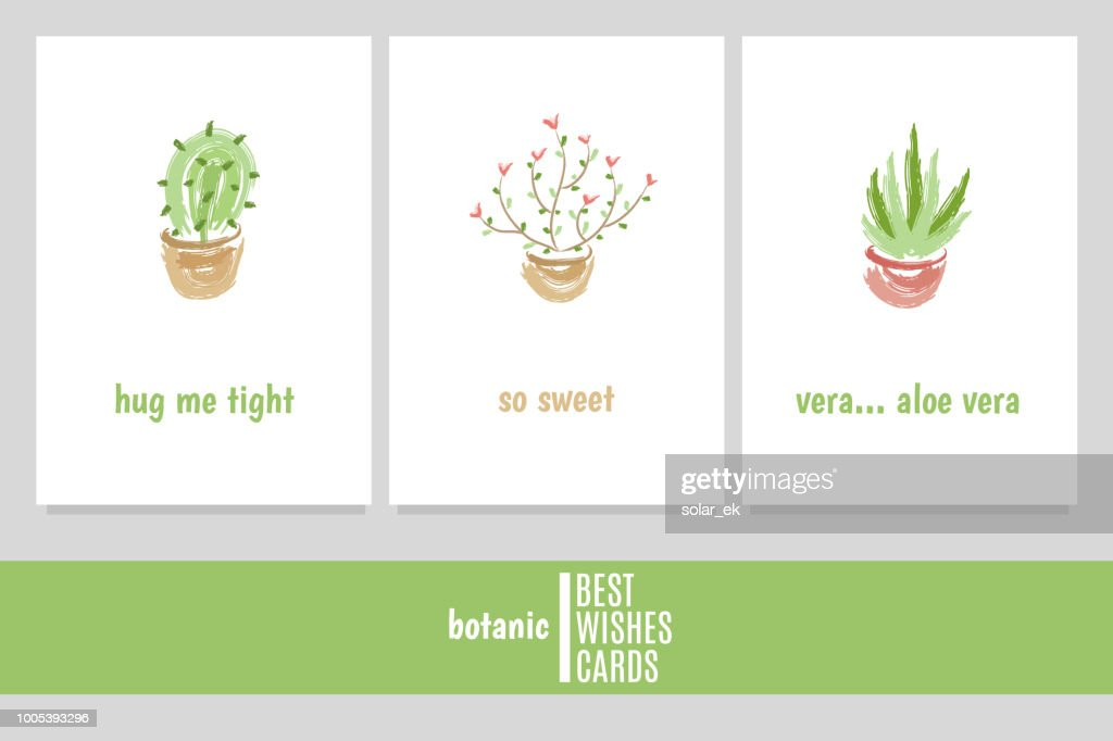 "Greeting cards with cactus, flower and aloe vera with inscriptions: ""hug me tight"", ""so sweet"", ""vera... aloe vera""."