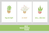 """Greeting cards with cactus, flower and aloe vera with inscriptions: """"hug me tight"""", """"so sweet"""", """"vera... aloe vera""""."""