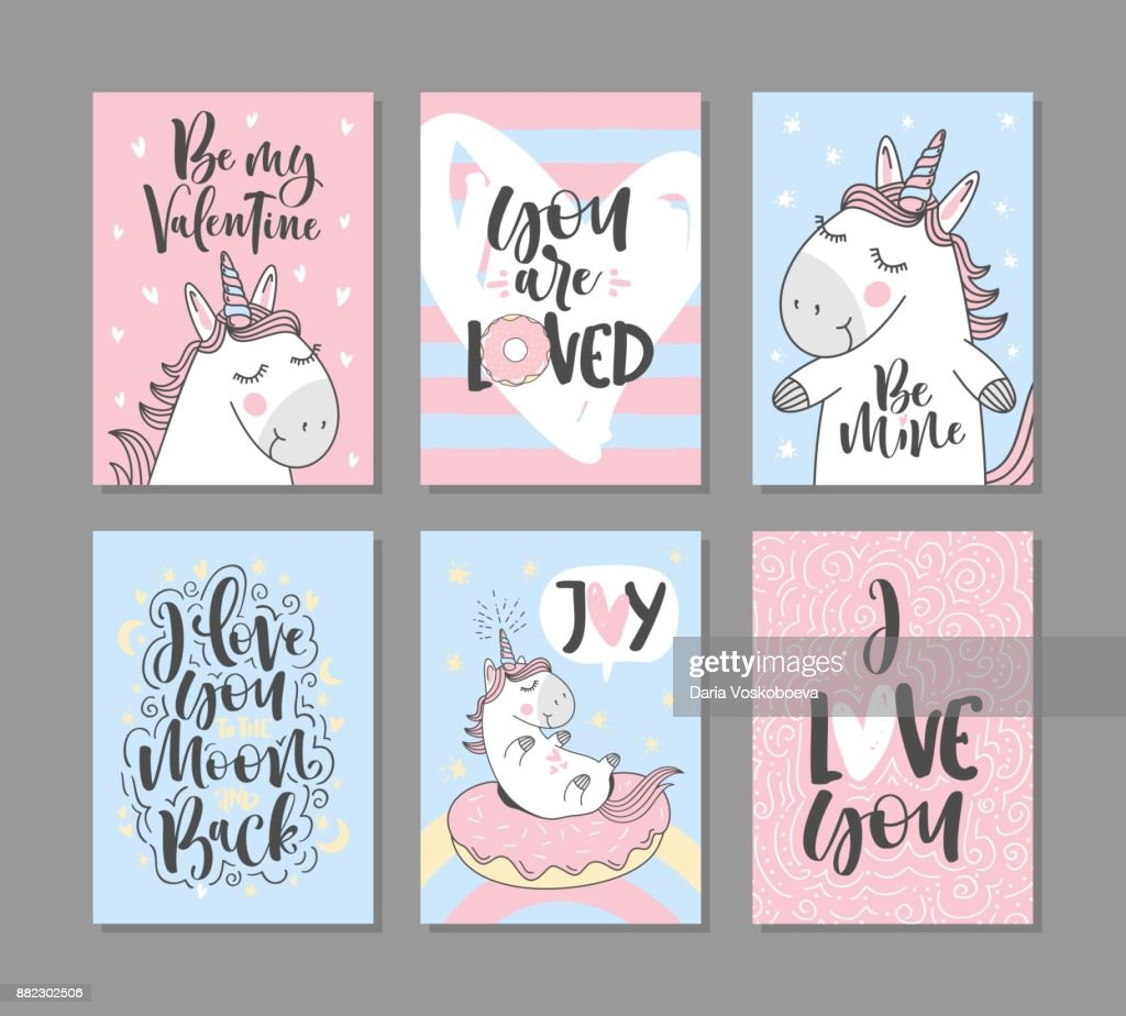 Greeting cards with cute unicorns. For Valentine's day. I love you to the moon and back. Hand written text.