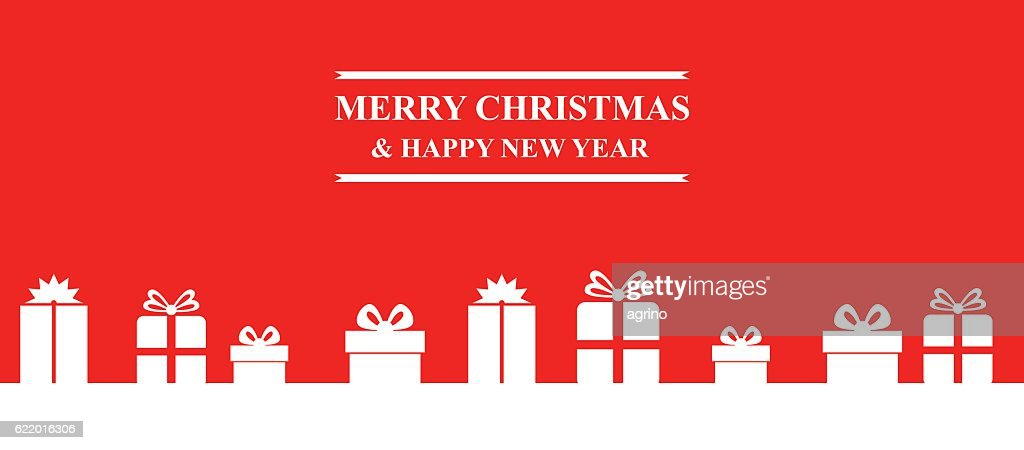 Greeting Christmas banner with gifts
