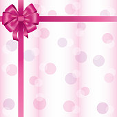 Greeting or invitation card with ribbon and bow