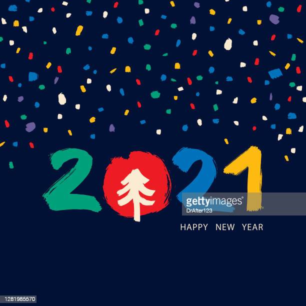 2021 greeting with hand drawn elements - 2021 stock illustrations