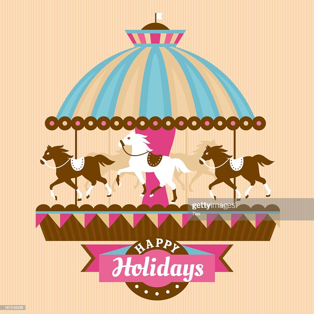 Greetings card with horses on a carousel
