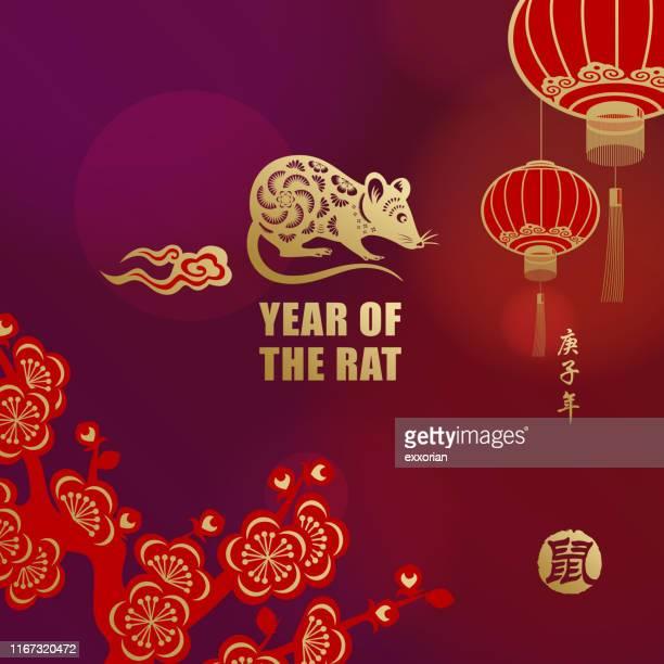 bildbanksillustrationer, clip art samt tecknat material och ikoner med hälsningar för 2020 råtta år - kinesiska lyktfestivalen