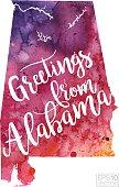 Greetings from Alabama Vector Watercolor Map