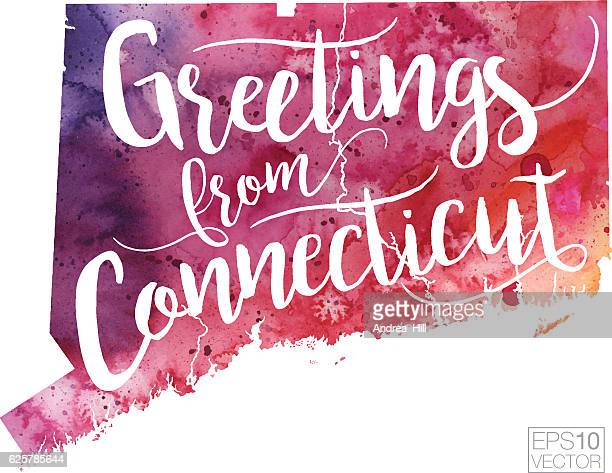 Greetings from Connecticut Vector Watercolor Map