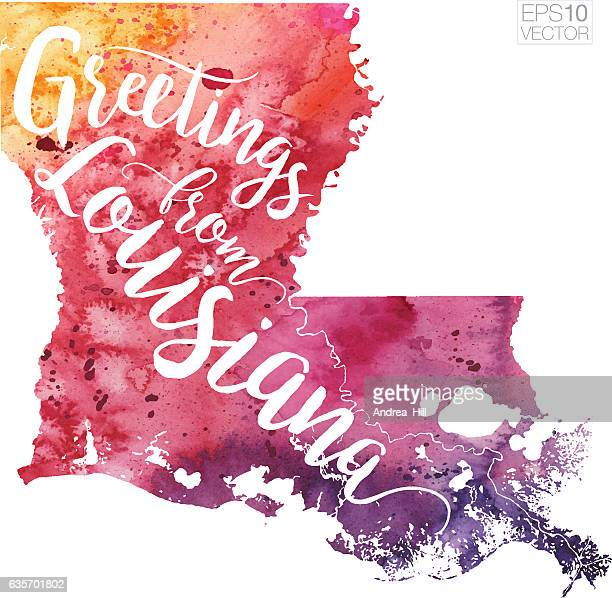 Greetings from Louisiana Vector Watercolor Map