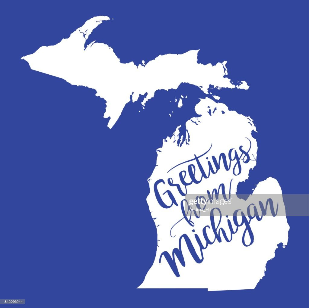 Greetings from michigan eps10 vector map vector art getty images greetings from michigan eps10 vector map vector art m4hsunfo