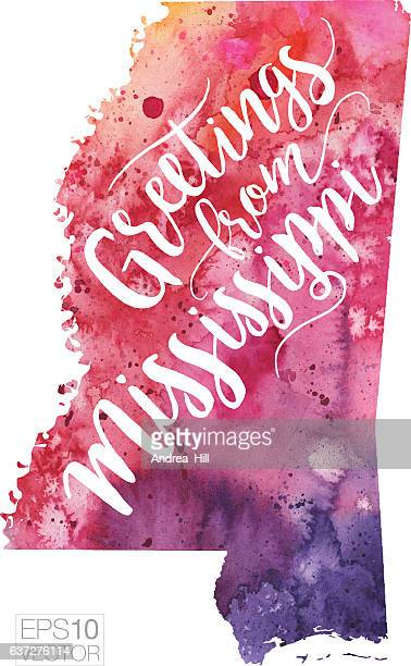 greetings from mississippi vector watercolor map - mississippi stock illustrations, clip art, cartoons, & icons